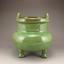Chinese Long Quan Glaze Porcelain 3 Leg Incense Burner
