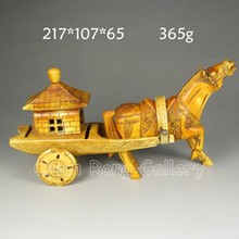 Vintage Hand-carved Chinese Bone Statue - Horse & Cart