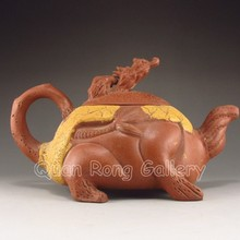 Hand Made Chinese Yixing Zisha Old Clay Dragon Turtle Shape Teapot Artist Signed