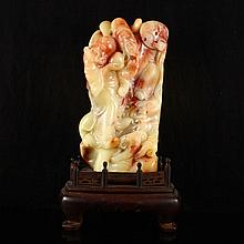 Superb Hand Carved Chinese Natural Shoushan Stone Statue w Two Sages