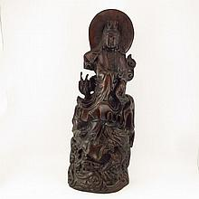 Excellent Hand Carved Chinese Natural Black Sanders Wood Statue - Kwan-yin
