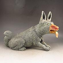 Vivid Hand Carved Chinese Natural Shoushan Stone Statue - Wolfhound