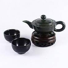A Set Hand Carved Chinese Natural Deep Green Hetian Jade Teapot & Cup