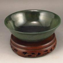 Superb Hand Carved Chinese Natural Deep Green Hetian Jade Bowl w Poems & Marked