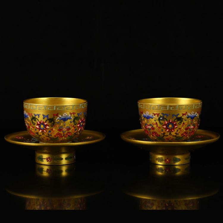 A Pair Chinese Qing Dynasty Gilt Gold Famille Rose Porcelain Teacups w Qian Long Mark