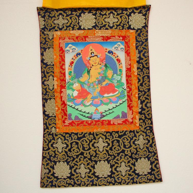 Chinese Tibet Temple Silk Tangka - Jambhala