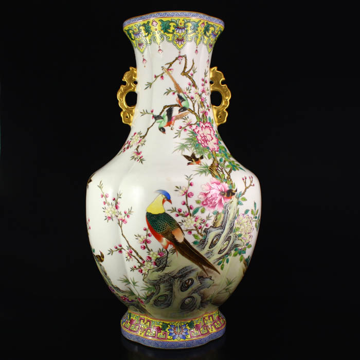 Chinese Gilt Gold Famille Rose Porcelain Big Vase w Magpie & Peony