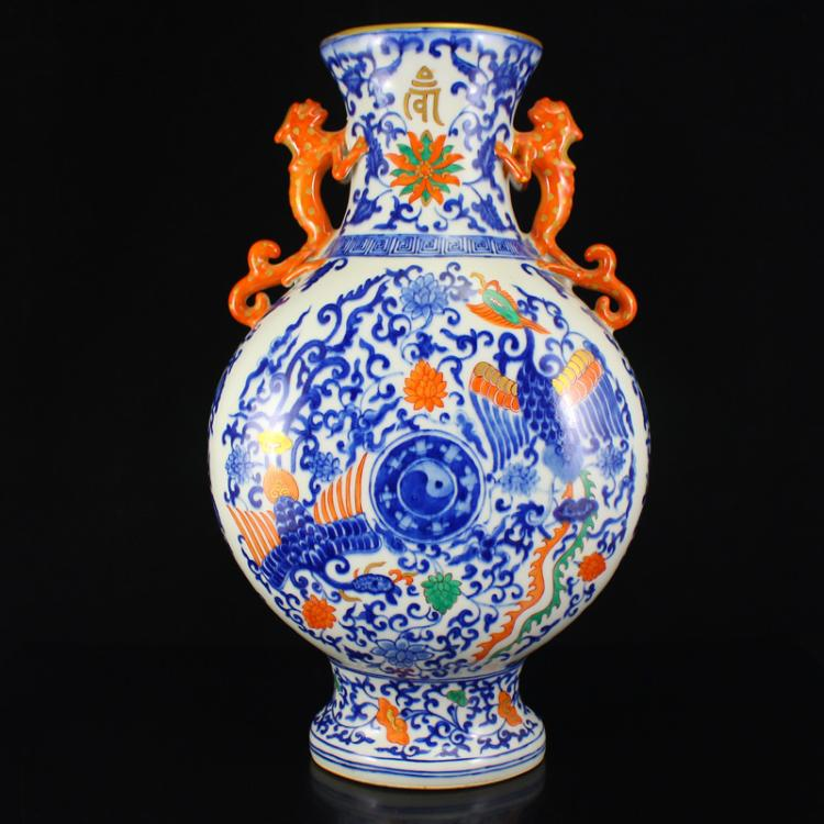Superb Chinese Qing Dynasty Gilt Edges Blue And White Porcelain Vase w Yongzheng Mark