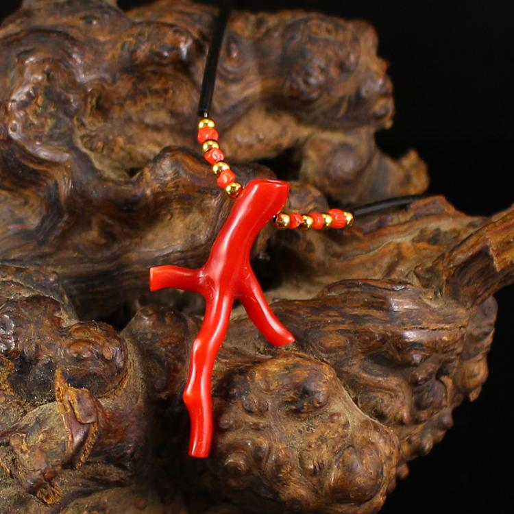 Beautiful Chinese Red Coral Lucky Necklace