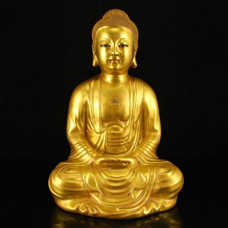 Chinese Gilt Gold Porcelain Siddhartha Buddha Statue w Qianlong Mark