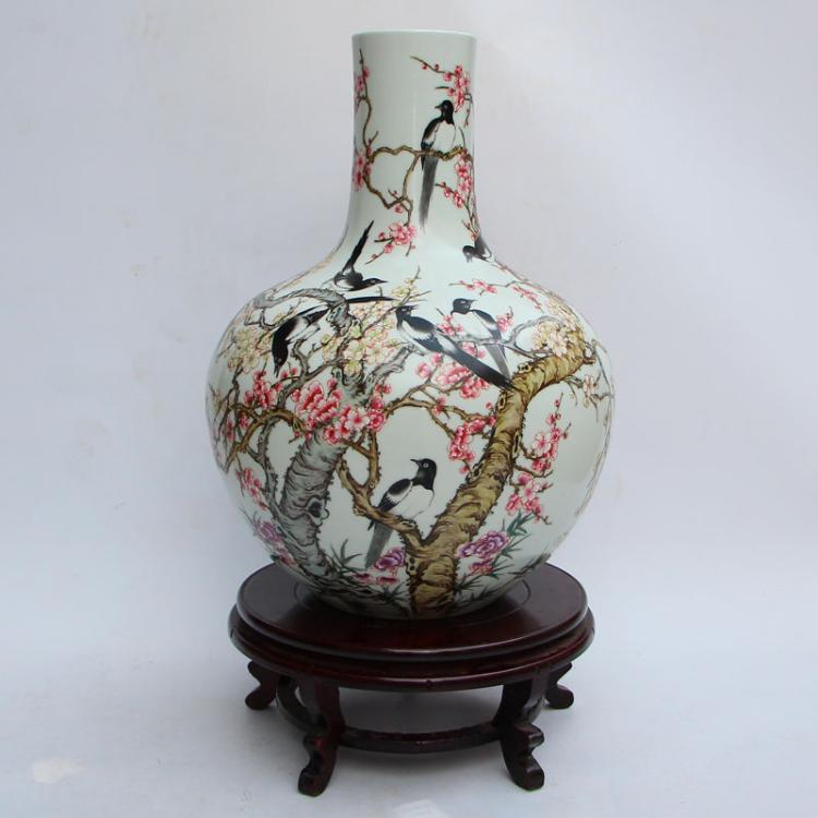 Chinese Qing Dynasty Famille Rose Porcelain Big Vase w Yongzheng Mark