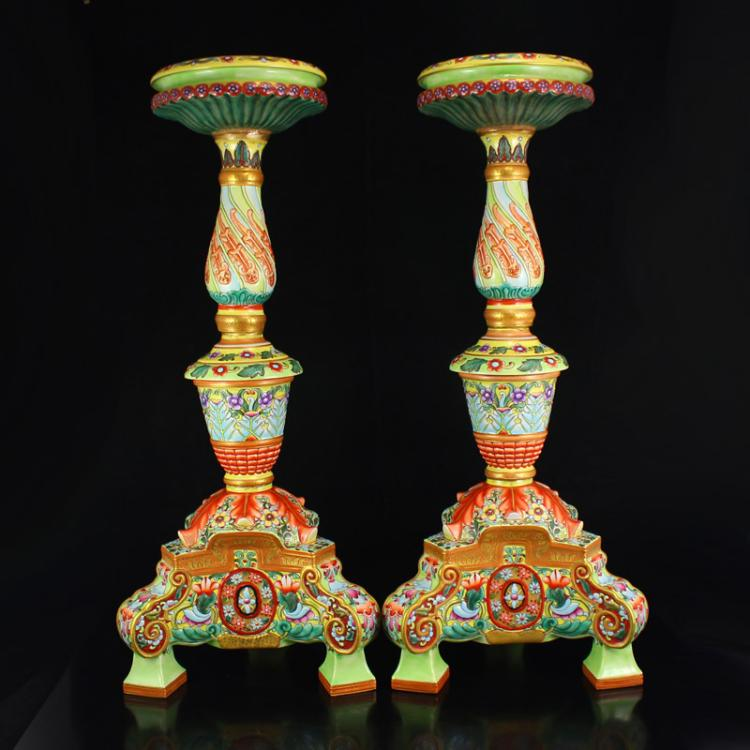 A Pair Superb Chinese Gilt Gold Famille Rose Porcelain Candlestick w Yong Zheng Mark