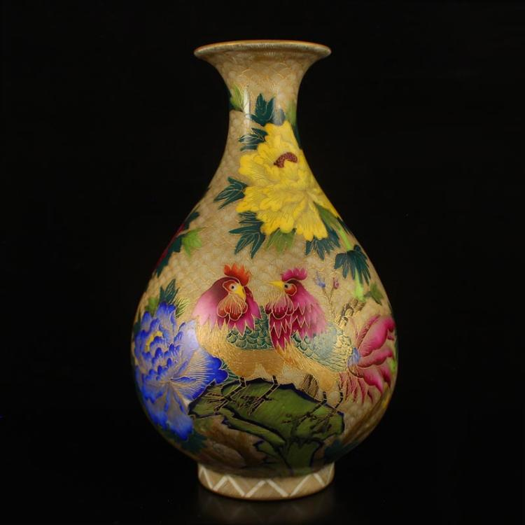 Superb Chinese Gilt Gold Enamels Porcelain Vase