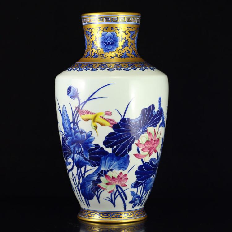 Chinese Qing Dynasty Gilt Gold Blue And White + Famille Rose Porcelain Vase w Yongzheng Mark
