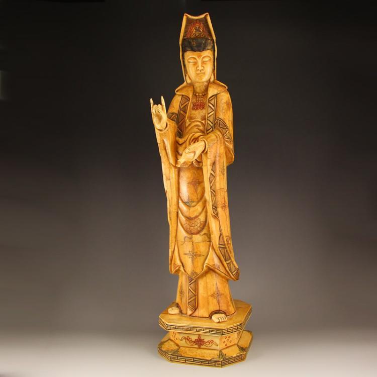 Vintage Chinese Bone Kwan-yin Statue
