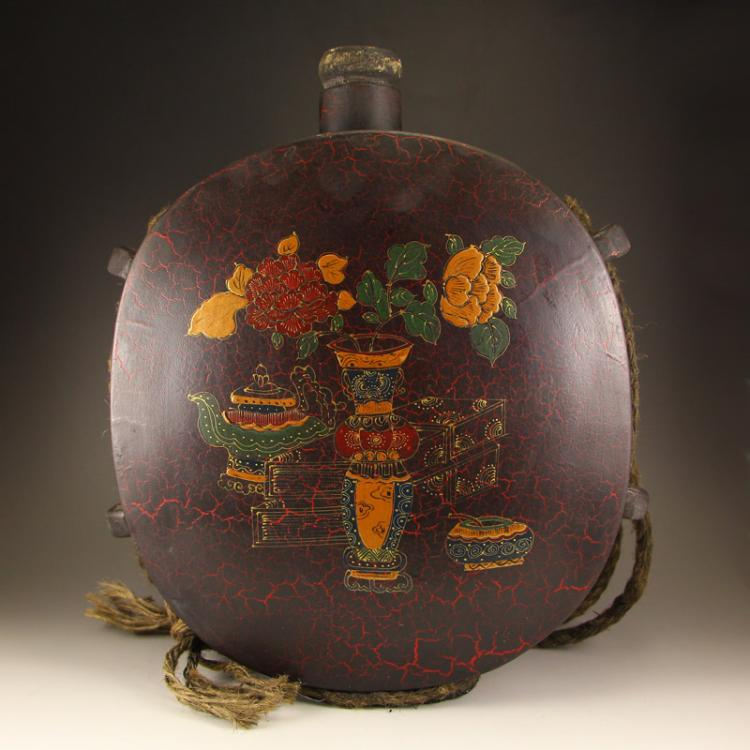 Vintage Chinese Qing Dynasty Hard Wood Lacquerware Pot