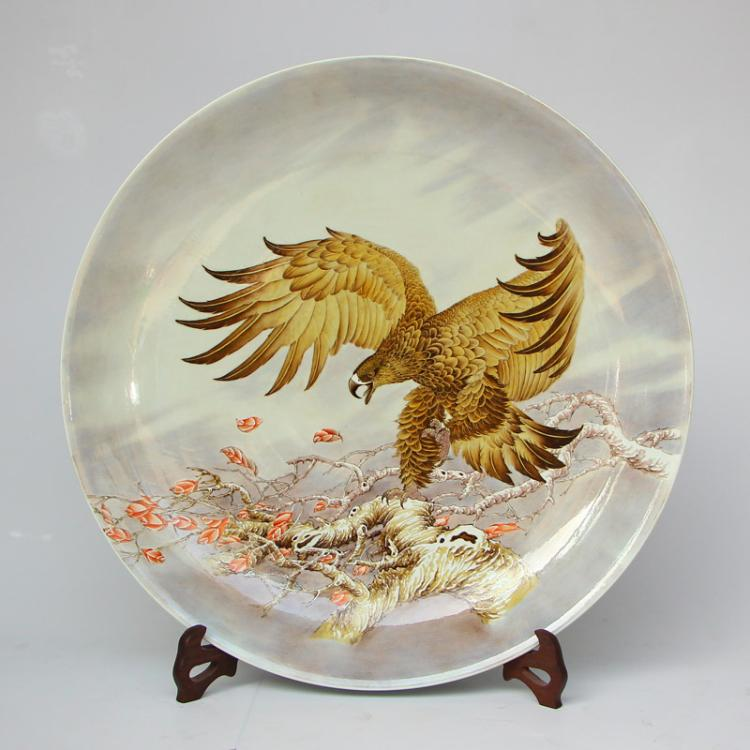 Superb Chinese Qing Dynasty Famille Rose Porcelain Big Plate - Eagle Yongzheng Mark