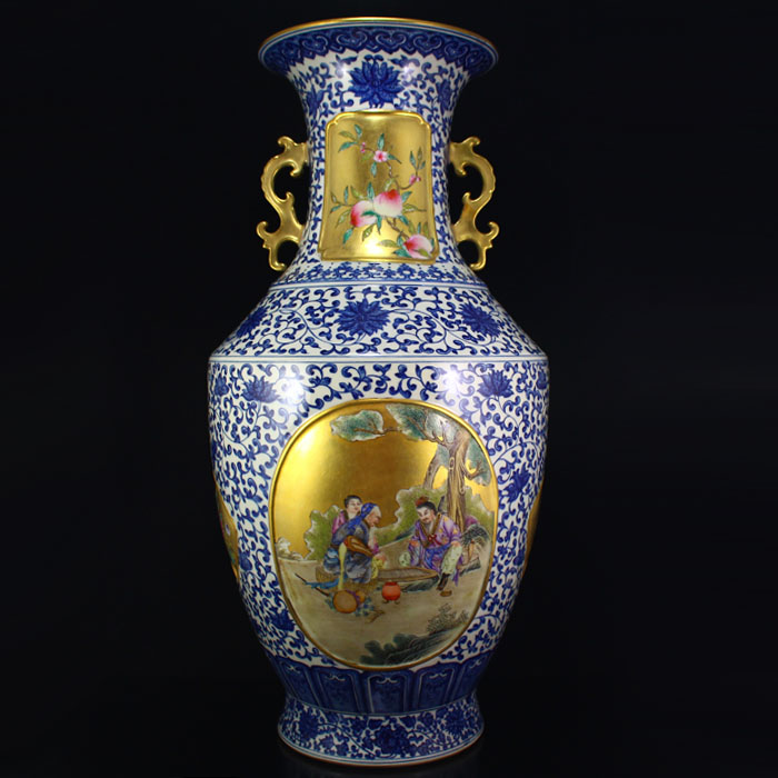 Superb Chinese Gilt Gold Blue And White + Famille Rose Porcelain Big Vase