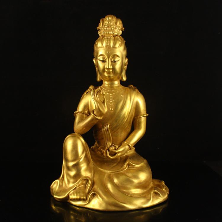 Chinese Gilt Gold Porcelain Kwan-yin Statue w Qianlong Mark