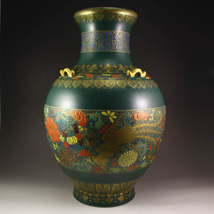 Superb Chinese Gilt Gold Peacock Blue Glaze Dragon Phoenix Porcelain Big Vase Qianlong Mark