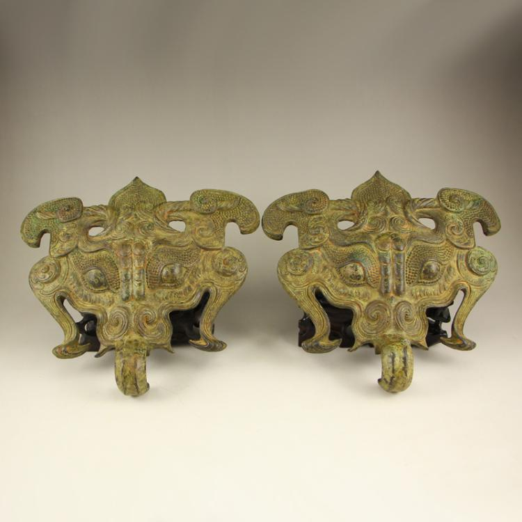 A Pair Vintage Chinese Bronze Knocker Statue