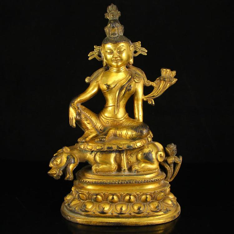 Chinese Tibet Buddhist Gilt Gold Bronze Tara Statue