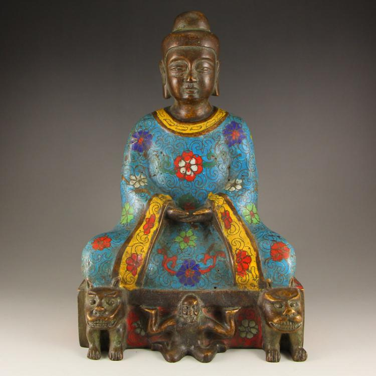 Vintage Chinese Bronze Cloisonne Kwan-yin Statue