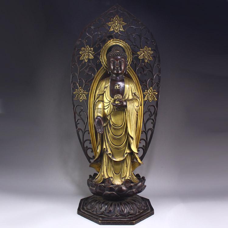 Vintage Chinese Bronze Gilt Gold Sakyamuni Buddha Statue