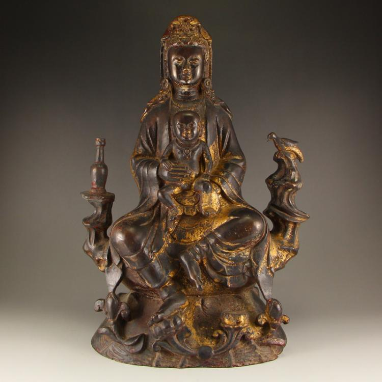 Vintage Chinese Gilt Gold Bronze Statue - Kwan-yin & Kid