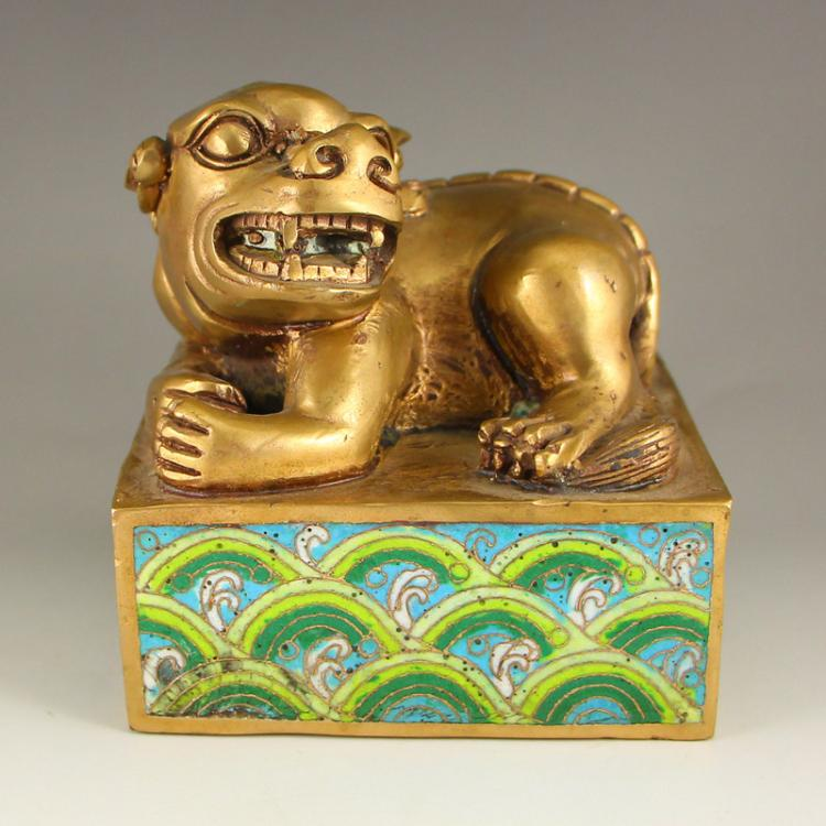Chinese Qing Dynasty Gilt Gold Bronze Cloisonne Foo Dog Seal