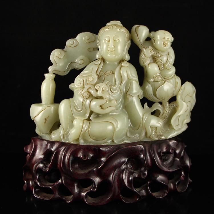 Vintage Chinese Hetian Jade Statue - Kwan-yin & Fortune Kid