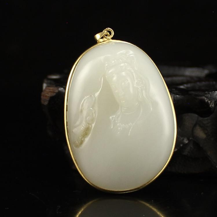 18K Gold Inlay Hetian Jade Ruyi Kwan-yin Pendant
