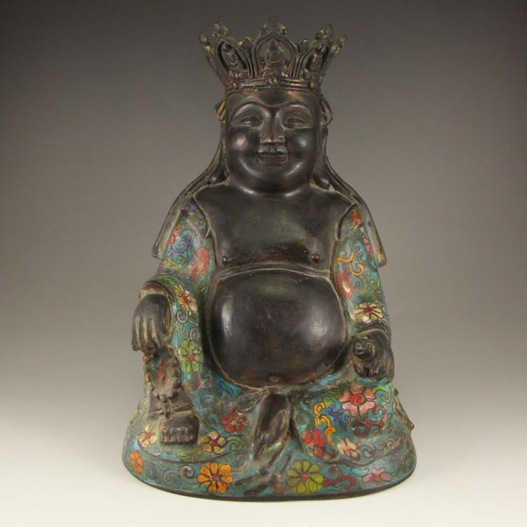 Vintage Chinese Bronze Cloisonne Smiling Buddha Statue