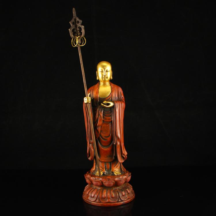 Chinese Ming Dynasty Tibet Gilt Gold Red Copper Buddhist Buddha Statue