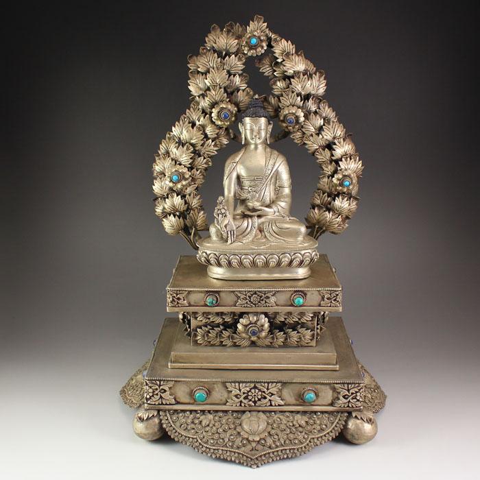 Tibetan Silver Inlay Gemstone Sakyamuni Buddha Statue