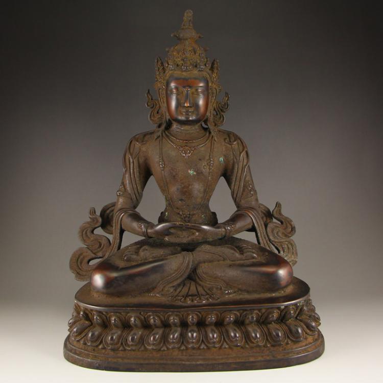 7 Kg Vintage Chinese Tibet Kwan-yin Statue