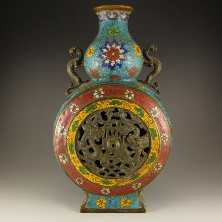 Vintage Chinese Bronze Cloisonne Double Ears Vase