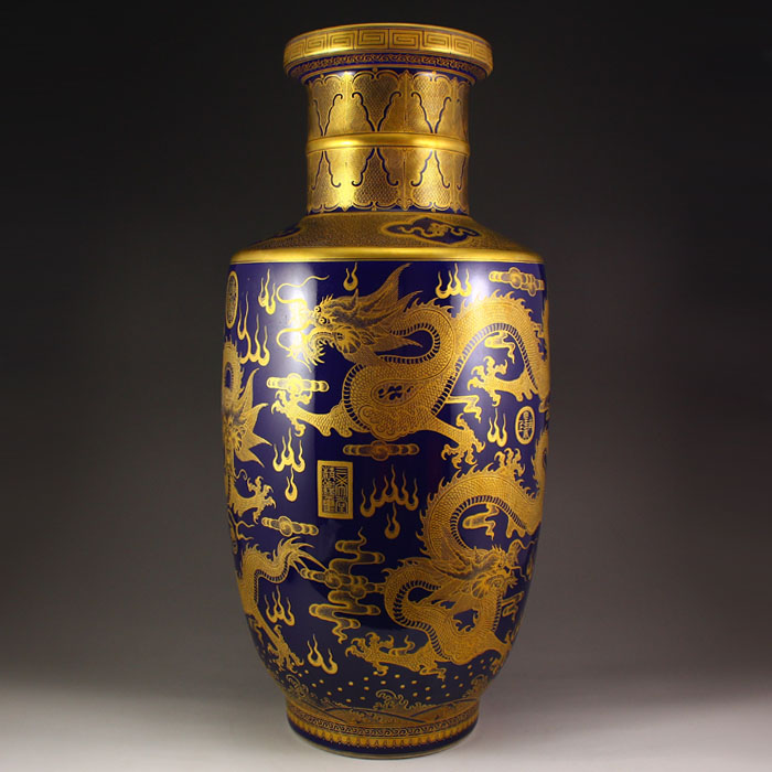 Superb Chinese Qing Dy Gilt Gold Blue Glaze Porcelain Vase
