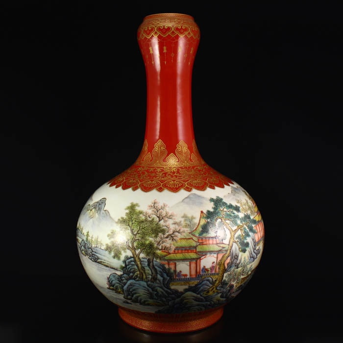 Chinese Gilt Gold Famille Rose Porcelain Big Vase