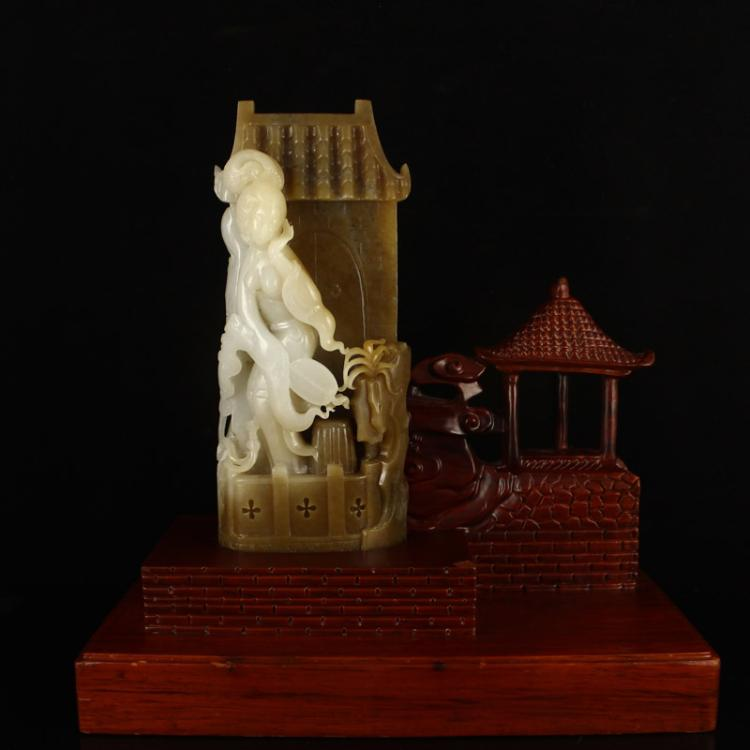 Chinese Qing Dynasty Hetian Jade Beautiful Women Statue w Zitian Wood Stand