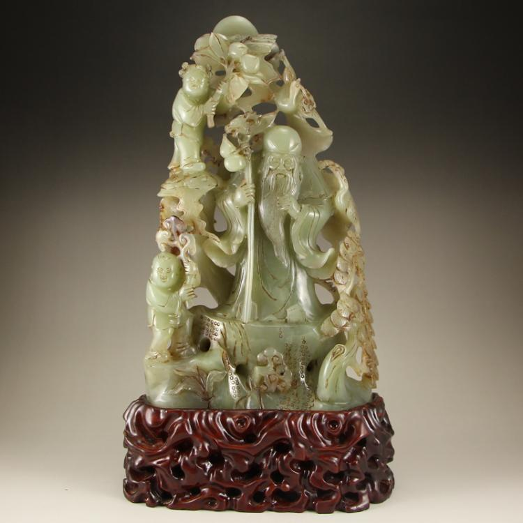 Vintage Chinese Qing Dynasty Hetian Jade Statue - Long Life Old Men & Kids