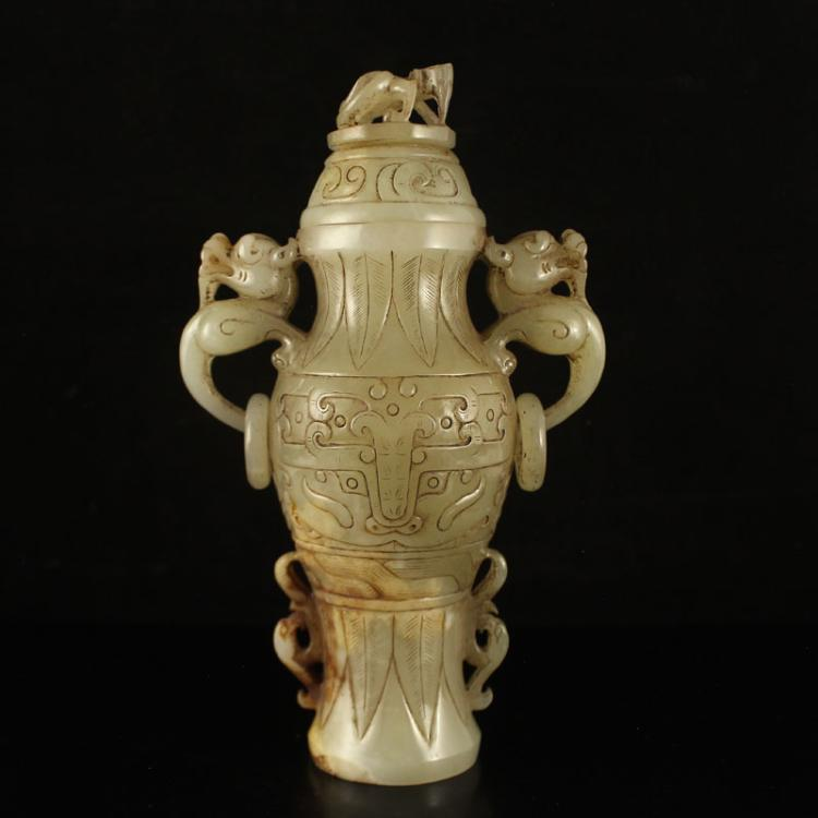 Vintage Chinese Han Dy Hetian Jade Double Ring Dragon Head Vase