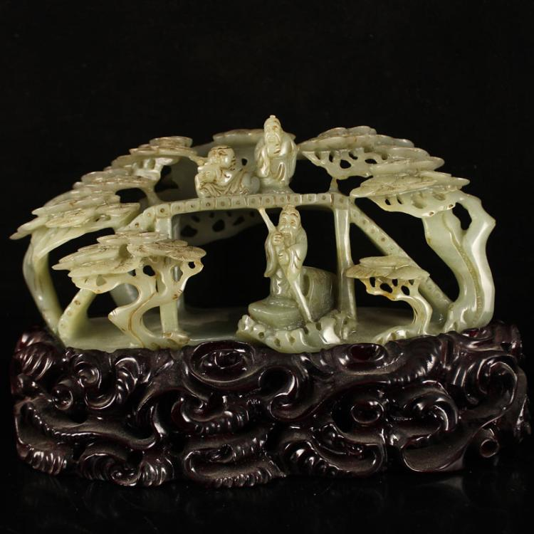 Vintage Chinese Qing Dynasty Hetian Jade Statue - Birdge Figures Tree and Boat