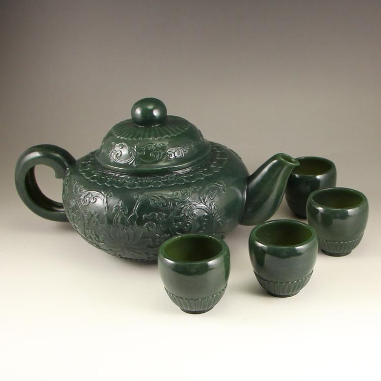 A Set Chinese Qing Dynasty Deep Green Hetian Jade Low Relief Teapot & Cups Teapot