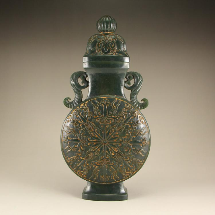 Chinese Qing Dynasty Hetian Jade Low Relief Double Ears Vase