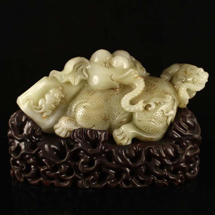 Chinese Qing Dynasty Hetian Jade Statue - Monkey & Elephants