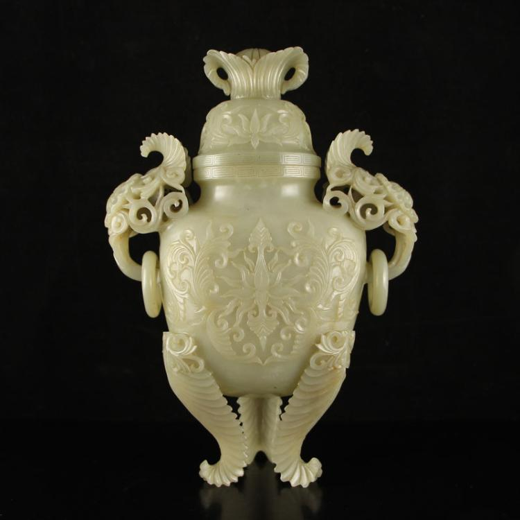 Chinese Hetian Jade High Relief Double Rings 3 Legs Incense Burner