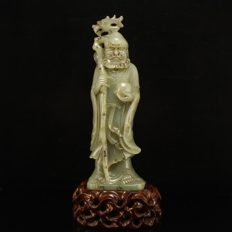 Chinese Qing Dynasty Hetian Jade Dharma Statue