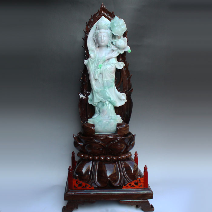 Superb Jadeite Lotus Flower Kwan-yin Statue
