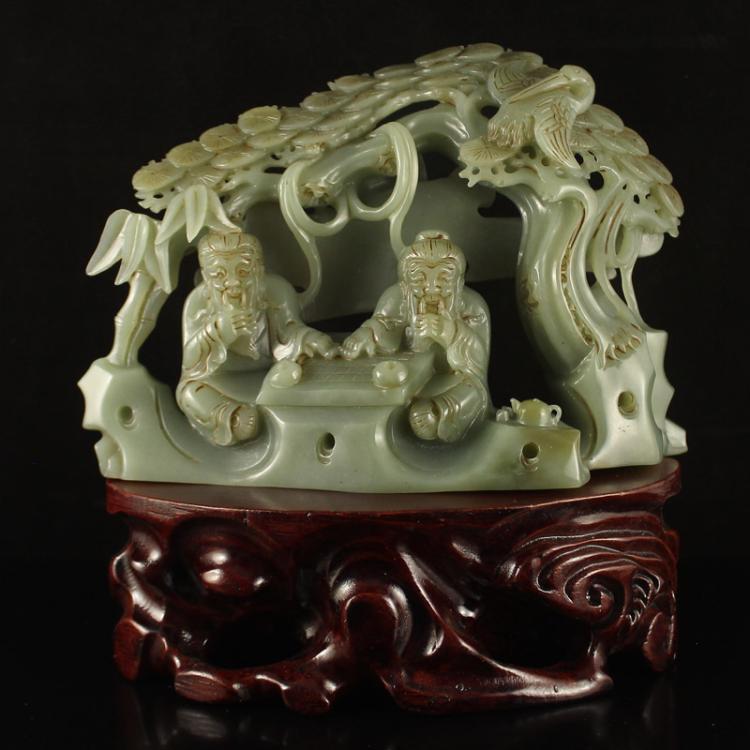 Vintage Chinese Hetian Jade Statue - Sages & Pine Tree